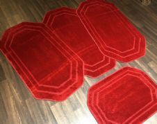 ROMANY GYPSY WASHABLES SET OF 4 REGULAR SIZES 75x125CM MATS PLAIN RED NON SLIP